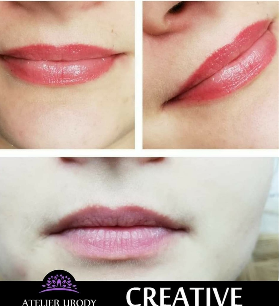 makijaż permanentny ust przed i po