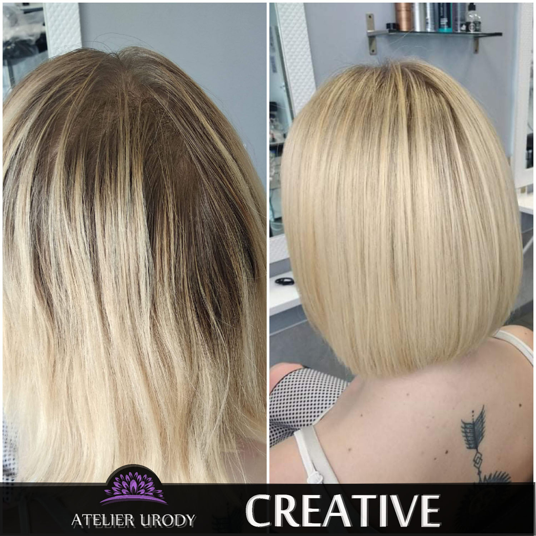 Farbowanie odrostów przed i po
