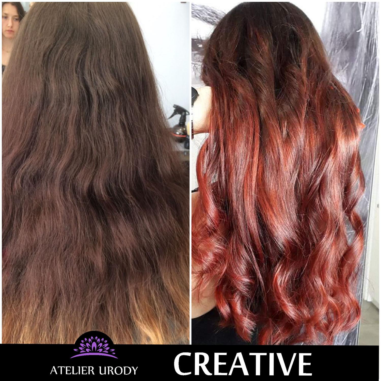 Tęczowe farbowanie przed i po