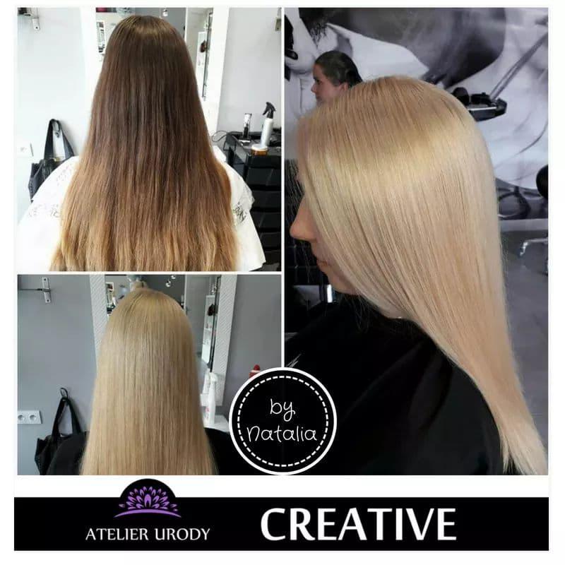 Koloryzacja i keratynowe prostowanie włosów przed i po