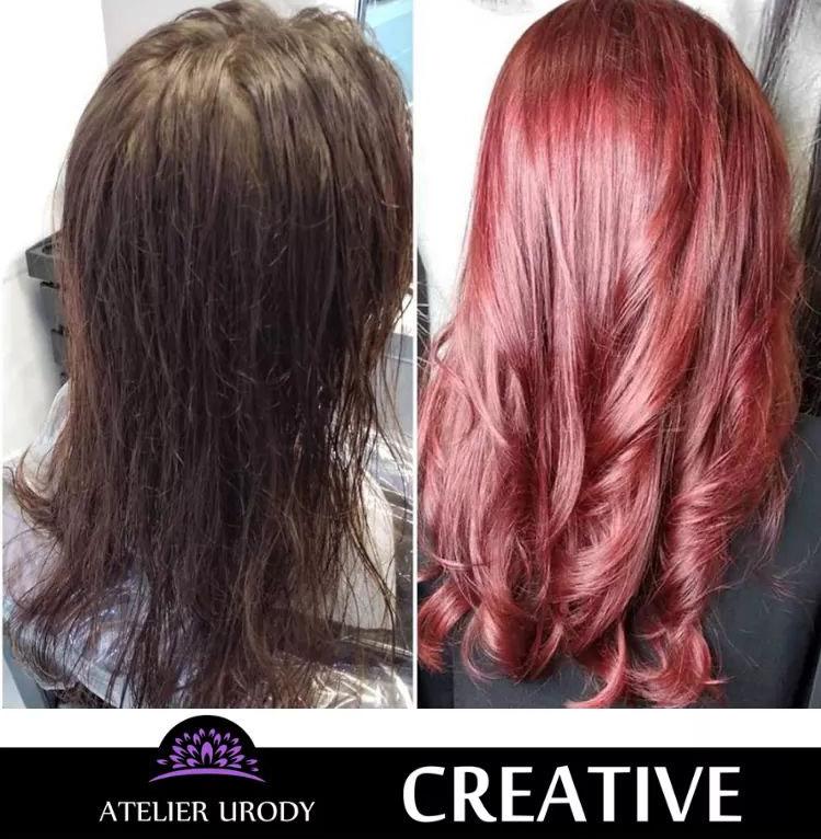 Tęczowa koloryzacja przed i po
