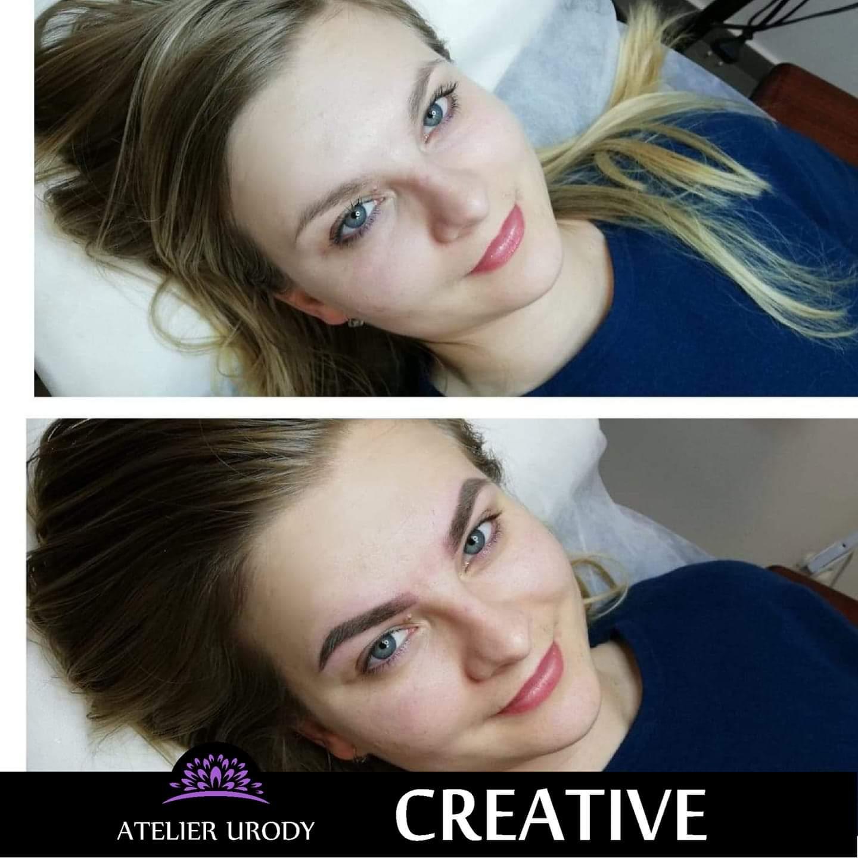 Makijaż permanentny brwi przed i po