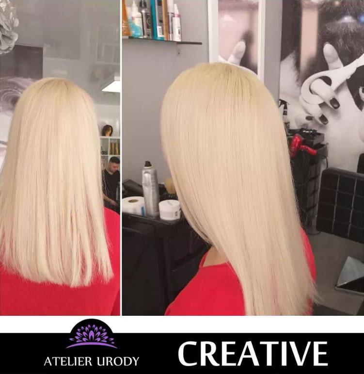 Keratynowe prostowanie włosów przed i po